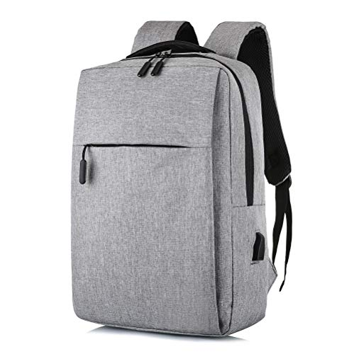 (BulBuliverGroup Easy Light and Compact Laptop Backpack, Business Case with USB Charging Port, Slim Computer School Bag, Fits 15.6 Inch Laptop Notebook Gray, Stylish Durable Oxford Fabric Sleeve)