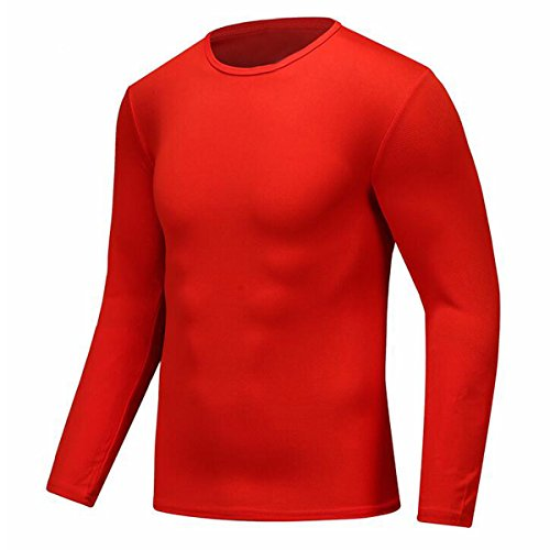 Century Star Mens Sport Moisture Wicking Tee Athletic Quick-drying GYM T-shirts Red M