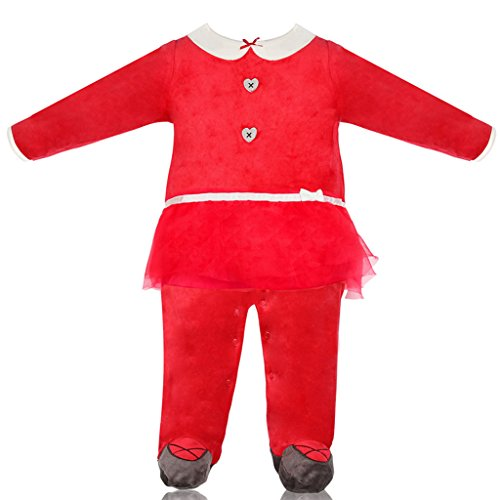 Baby Gilrs Christmas Rompers Santa's Elf Costume Footed Jumpsuit Santa Suits (Elf Costumes For Babies)