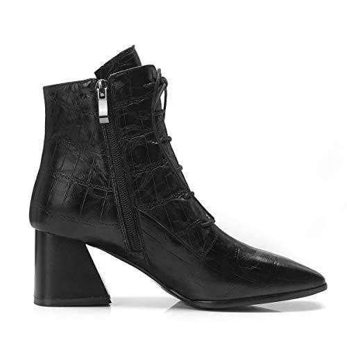 Square Block High Zipper Ladies up Ankle Heels Leather Lace Fashion Women Boots Toe Black Heels Genuine q4YwvIY