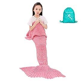 SENYANG Mermaid Tail Blanket Handmade Crochet Sofa Blankets All Seasons Sleeping Bags Best Gift For Kids and Adult (Kid Thick Pink)