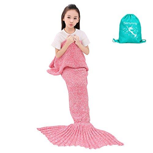 Mermaid Blanket - SENYANG Mermaid Tail Blanket Handmade Crochet Sofa Blankets All Seasons Sleeping Bags Best Choice for Girls Gift Christmas Gift (Kid Thick Pink)