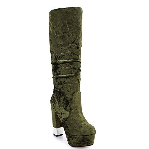 Kaloosh Women's Fashion High Heel Knee High Suede Boots Stiletto Shoes 1dark Olive Green