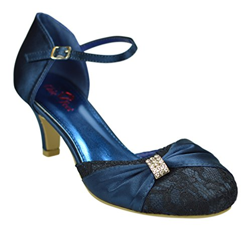 Chic Feet Women's Navy Blue Satin & Lace Diamante Closed Toe Wedding Bridal Bridesmaid Mary Jane Style Low Heel Shoes 3-8 sUwG6QuTX