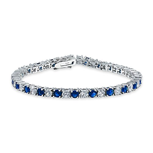Bling Jewelry Royal Blue White Alternating CZ Tennis Bracelet Silver Simulated Sapphire Cubic Zirconia Rhodium Plated Brass 7.5in