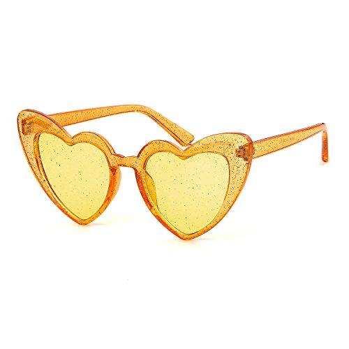 (Clout Goggle Heart Sunglasses Vintage Cat Eye Mod Style Retro Kurt Cobain Glasses (Orange)