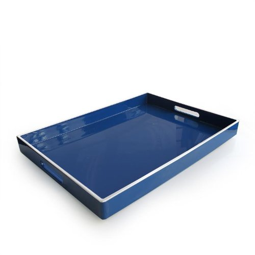 (American Atelier Rectangle Tray with Handles, Blue with White Line)