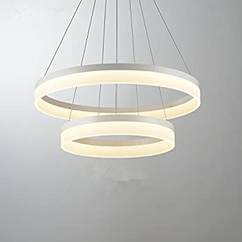 Modern Circular Led Acrylic Chandelier Adjustable Hanging Light With 2 Rings Contemporary Ceiling Pendant Lighting Warm