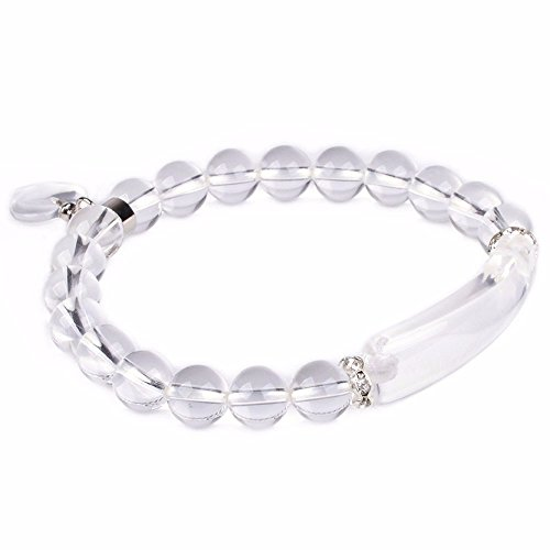 Natural Clear Quartz Rock Crystal Gem Semi Precious Gemstone Love Heart Charm Stretch Bracelet