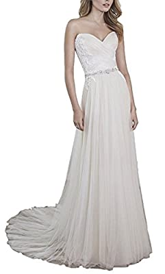 Meledy Women's Sweetheart Wedding Bridal Gowns A-Line Lace Ruched Wedding Dress