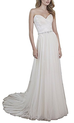 (WenSai Women's Pleated Chiffon Beach Wedding Dresses Long Evening Party Gown with Appliques Ivory us18w)