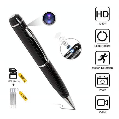 DL Hidden Spy Pen Camera – Portable Surveillance Recording Device, Wireless Mini Video Security Camcorder – Free 16GB microSD Memory Card, 3 Ink Refill – 1080p Recorder, Discreet Photo Shots, (Black)