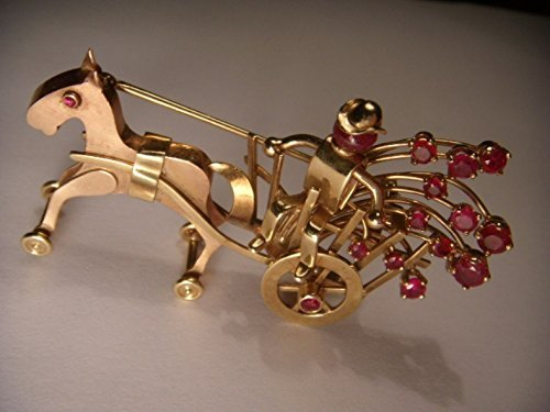 Stunning Art Deco Movable 14K Pink Rose Gold Horse Pony Handmade Ruby Brooch