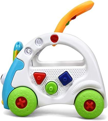 Multifunktionales Kinderspielzeugauto mit Beleuchtung Soundeffekte GOPLUS Intelligente Lauflernhilfe Babywalker Kinderwanderer Baby-Wanderer mit H/öhenverstellbarem Griff mit Fernschl/üssel Blau