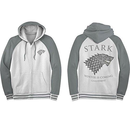 HBO Game Of Thrones Men's Got Stark Zip Front Hoodie, Gray, - Hoodie Thrones Game Of