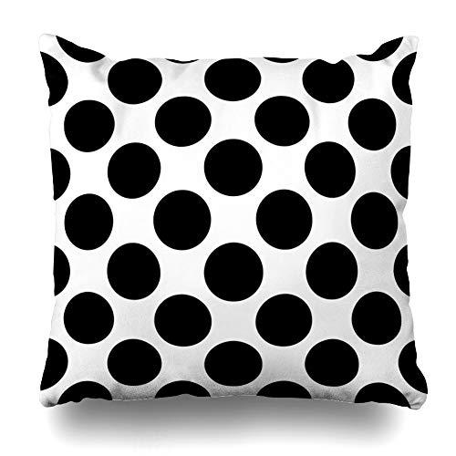 DIYCow Throw Pillows Covers Circle Abstract Black White Big Polka Dot Classic Color Cute Dress Home Decor Pillowcase Square Size 20 x 20 Inches Cushion Case
