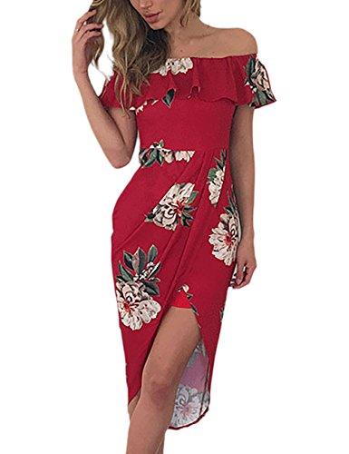 Fiore Slim Vestiti Vestito Spalline Dell anca Del Pacchetto Mare Rosso  Abbigliamento Senza Unico Donna Ragazza Moda Estivi ... 32ea1e87702