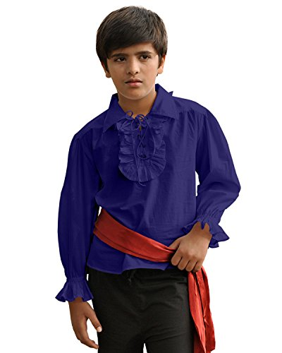 ThePirateDressing Kids Pirate Medieval Renaissance Medieval Cosplay Costume 100% Cotton Captain Kennit Shirt C1255 (Blue) (Medium) -