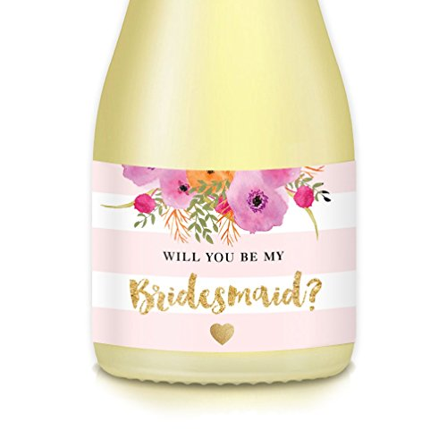 Hen Sticker - Will You Be My Bridesmaid? Set of 10 Wedding Party Proposal Labels for Mini Champagne Bottles, Bride Ask BFF Maid Matron of Honor, 3.5