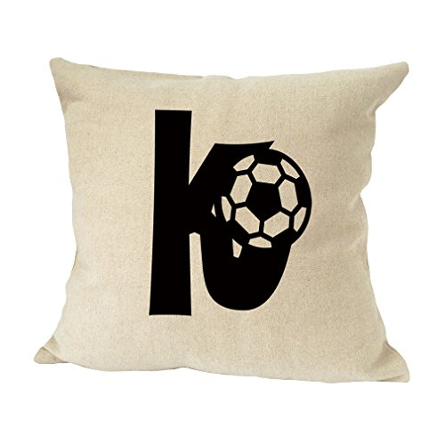 ''K '' Soccer Initial Monogram Letter K Bed Home Decor Faux Linen Pillow Cover by Style in Print
