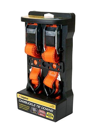 - Premium Cam Buckle Tie Downs - 2 Pk - 12 Ft - 300 Lbs Load Cap - 900 Lbs Break Strength - Cargo Straps for Moving Appliances, Lawn Equipment, Motorcycles, etc. - ORANGE