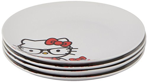 Paperproducts Design, Hello Kitty Nerd Kitty Gift Box Set of Four Porcelain Plates, 8.25-Inch