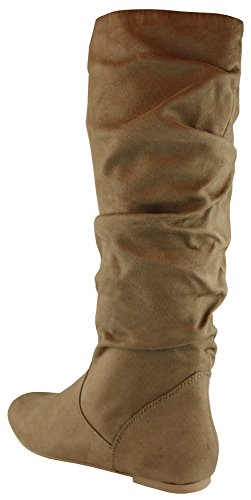 Taupe Imsu High Toe Round Women's Flat Slouchy Select Boot Knee Cambridge qzvnYHn