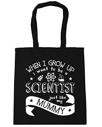 HippoWarehouse WHEN I Grow Up I Want To Be A científico Just Like My Mummy bolsa de la compra bolsa de playa 42cm x38cm, 10litros negro