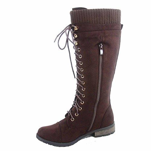 Forever Link Mango-92 Womens Round Toe Low Heel Mid Calf Knit Trim Combat Boots Shoes Brown JZJNUQNuj