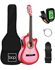 Best Choice Products Beginner Acoustic Electric Guitar Starter Set 38in w/All Wood Cutaway Design, Case, Strap, Picks, Tuner - Pink
