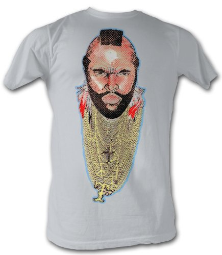 Mr. T T-Shirt - Chain Of Fool A-Team Adult Silver Tee Shirt, - T Team