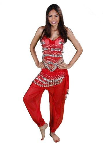 [BellyDancing Halloween Costume Set | Harem Pants, Top & Hip Scarf | The Belly Dancer (MEDIUM/LARGE,] (Red Belly Dancer Costume)