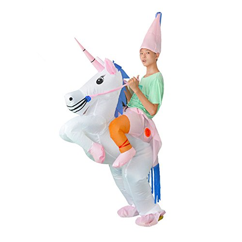 Rider Costume Inflatable Horse (Kids Inflatable Unicorn Rider Party Dress Halloween Suit Fancy)