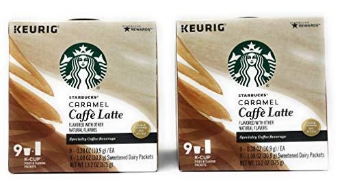 Starbucks Coffee Caffe Latte K Cups - 18 K Cups - Choose From 4 Flavors, Peppermint Mocha, Caramel, Mocha, Vanilla (Caramel Caffe Latte)