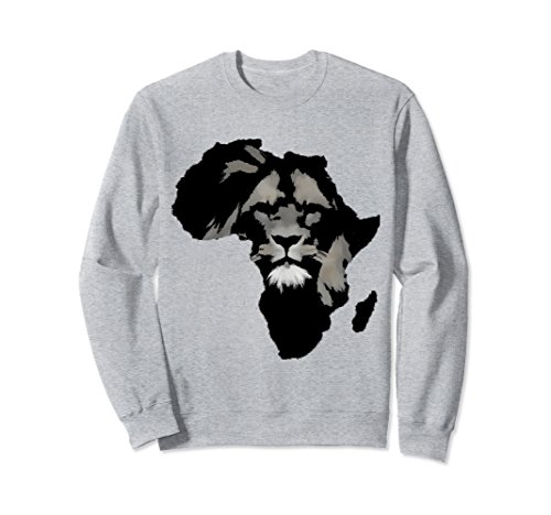 Unisex Africa Map Sweatshirt Lion Ethnic African Savannah Safari Large Heather Grey