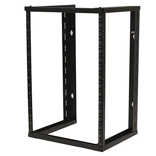 NavePoint 15U Wall Mount Open Frame 19 Inch Server Equipment Rack Threaded 16 inch Depth Black ()