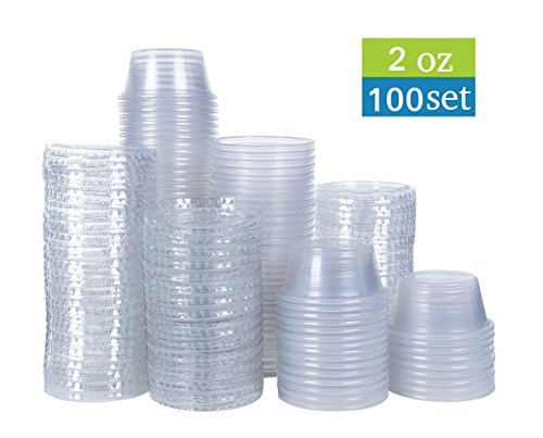 2 oz disposable portion cups with lids, set of 100 - jello shot cups, souffle cups, sampling cups, sauce cups (2 oz)
