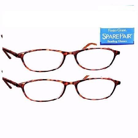 2 Pair Foster Grant Woman's Tiger Eye Reading Glasses 2.00 Strength by Spare Pair