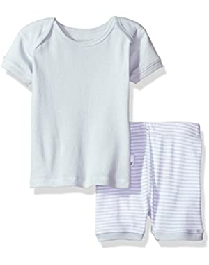 Organic Lap Shoulder Tee and Short Set