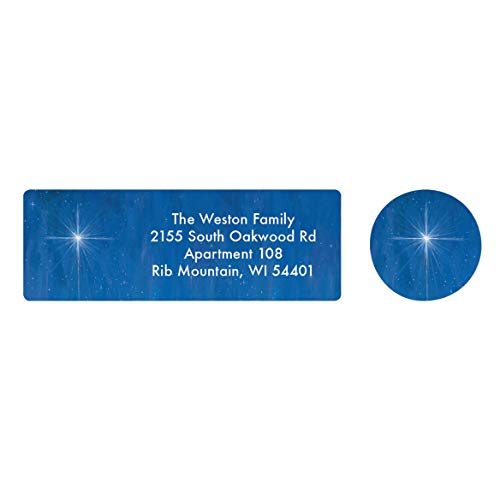Personalized The Star Still Shines Address Labels & Seals – Includes a Set of 20 Holiday Self-Stick Sheeted Labels Sized at 2 ½ in. long x 1 in. wide and Matching Seals ()