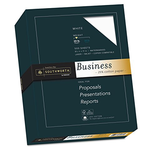 - Southworth® Credentials Collection Fine Business Paper, White, 20lb, Letter, 500 Sheets