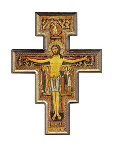 Desiderata Gallery Brand, San Damiano, St. Francis of Assisi Gold Trim Tau Crucifix Wall Cross Imported from Italy 10.5