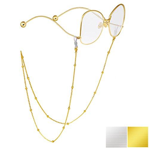 Kalevel Eyeglass Holder 24K Gold Eyeglass Chain Beaded Eyeglass Chain for Women (Gold)