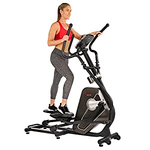 Sunny Health & Fitness Magnetic Elliptical Trainer Machine w/Device Holder, LCD Monitor, 265 LB Max Weight and Pulse Monitoring – Circuit Zone, Black (SF-E3862)