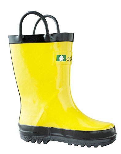 OAKI Kids Waterproof Rain Boots Easy-On Handles, Yellow, 5T US Toddler