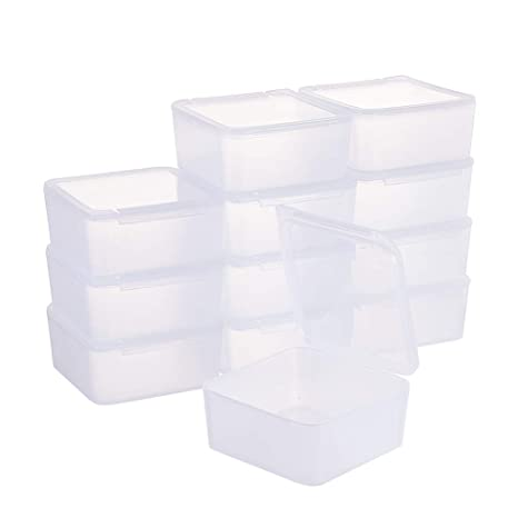 BENECREAT 12 Pack Caja Cuadradas Transparentes de Plastico para Cuentas, Artículos, Pastillas, Hierbas, Pequeñas Cosas, Adornos de Joyería y Otros ...