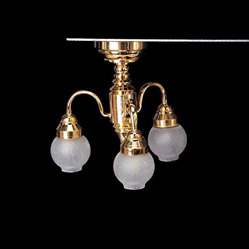 TOOGOO(R) 1:12 Maison de poupee Laiton lustre Lampe 3 bras LED eclairage de plafond abat-jour en Verre