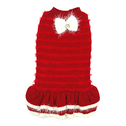 kyeese Dog Sweater Dress Turtleneck Red Dogs Sweater Pullover with Bowtie Knitwear Warm Pet Sweater for Fall Winter