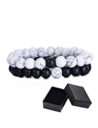 Distance Couples Bracelets, His Hers Black Agate Onyx White Howlite Relationship Bracelet for Lover