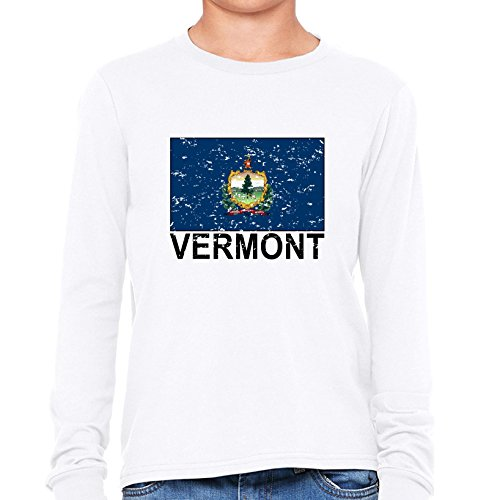 Vermont State Flag - Special Vintage Edition Boy's Long Sleeve T-Shirt